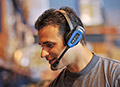 Closeup of a man wearing a Vocollect Headset