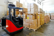 Fork lift truck in a warehouse