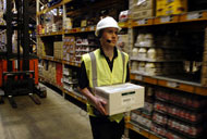 Warehouse worker working with voice technology