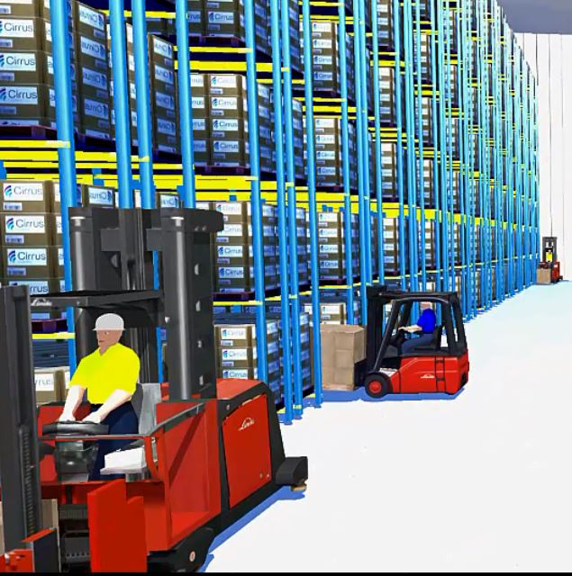 CLASS simulation software, visualization of warehouse racking and forklift truck